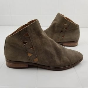 Lucky brand leather suede booties size 6.5